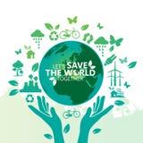 Światowego środowiska pojęcie Pozwala ` s Save świat Wpólnie wektorowa ilustracja royalty ilustracja