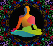 Światowego joga dnia wektorowa ilustracja, deseniowy tło Zdjęcia Stock