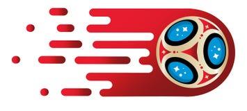 2018 światowego mistrzostwa futbolowych filiżanek na białym tle Plakatowy piłka nożna szablon Obraz Royalty Free