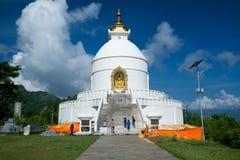 Światowego pokoju pagoda, Pokhara, Nepal fotografia stock