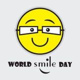Światowego uśmiechu dnia śliczny żółty emoji z oczu szkłami ilustracji