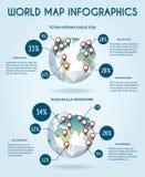 Światowej kuli ziemskiej wektorowy infographic w wieloboka stylu Fotografia Royalty Free