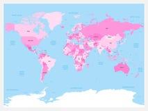 Światowej mapy atlant Różowi barwioną polityczną mapę z błękitnymi oceanami i morzami również zwrócić corel ilustracji wektora Zdjęcia Royalty Free