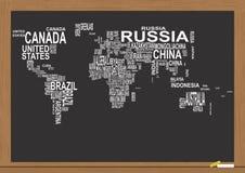 Światowej mapy chalkboard ilustracja wektor