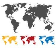 Światowej mapy czerni czerwonego błękita żółty kolor Comberu lub piksla struktura Kuli ziemskiej ikona Płaska wektorowa ilustracj Fotografia Stock