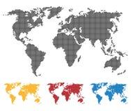 Światowej mapy czerni czerwonego błękita żółty kolor Comberu lub piksla struktura Kuli ziemskiej ikona Płaska wektorowa ilustracj Zdjęcia Royalty Free