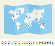 Światowej mapy GPS lokaci szpilki podróżują pojęcie EPS10 v Obrazy Stock