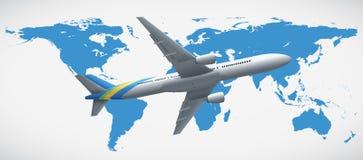 Światowej mapy i samolotu latanie royalty ilustracja
