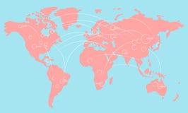 Światowej mapy ilustracyjny infographics z połączeniami i przypadkowymi liczbami royalty ilustracja