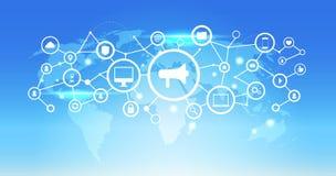 Światowej mapy interfejsu sieci ikony głośnika futurystycznego ogólnospołecznego medialnego podłączeniowego pojęcia tła błękitny  ilustracja wektor