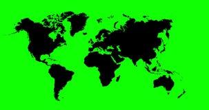 Światowej mapy 4K animacja Z głębią pole I Zielony Alfa kanał zdjęcie wideo
