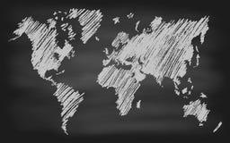 Światowej mapy konturu Chalkboard Wektorowy Blackboard Fotografia Stock
