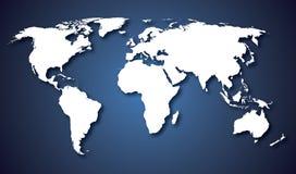 Światowej mapy krajów błękita gradient Zdjęcia Stock