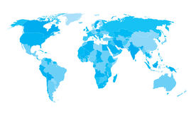 Światowej mapy krajów błękita gradient Fotografia Royalty Free