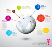 Światowej mapy kula ziemska z użytkownika pointeru ocenami Obrazy Stock