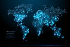 Światowej mapy niski poli- błękit ilustracja wektor