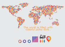 Światowej mapy polki stubarwne kropki Obraz Stock
