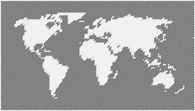 Światowej mapy przekątna wykłada szarość Zdjęcie Stock
