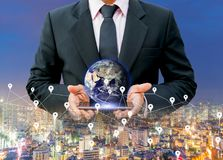 Światowej mapy sieci technologia Ziemska cyfrowa mapa elementy ten wizerunek meblujący NASA fotografia stock