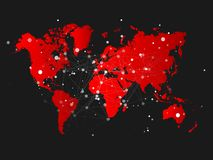 Światowej mapy sylwetka z podłączeniową siatką - wektorowa ilustracja Obrazy Stock