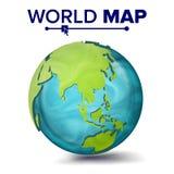 Światowej mapy wektor 3d planety sfera Ziemia Z kontynentami Azja, Australia, Oceania, Afryka button ręce s push odizolowana pocz ilustracji