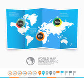 Światowej mapy wektor z infographic elementami royalty ilustracja