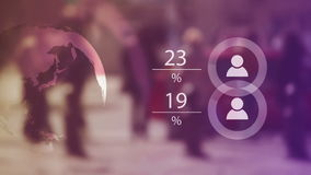 Światowej populaci dane prezentaci pojęcie z plama tłumu ludźmi i Animować mapami zbiory wideo