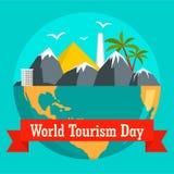 Światowej turystyki dnia wakacyjny tło, mieszkanie styl ilustracji