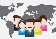 Światowi ludzie biznesu pracy zespołowej kreskówki royalty ilustracja