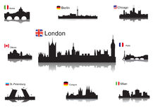 Światowi miasta szczegółowe sylwetki Zdjęcie Stock
