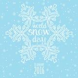 Światowy śnieżny dnia świętowanie Zima opadu śniegu tło Obrazy Royalty Free
