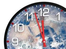 Światowy czasu dzień zagłady 23 57 hrs, elementów ten wizerunek meblujący NASA/ Zdjęcia Royalty Free