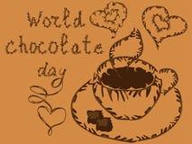 Światowy Czekoladowy dzień Lipiec 11 Pocztówka z czekoladowymi tortami i inskrypcją ilustracji