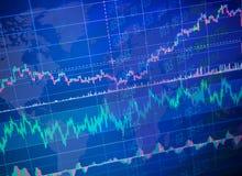 Światowy ekonomia wykres z dane Konceptualny widok wekslowy rynek _ analiza techniczna fotografia stock