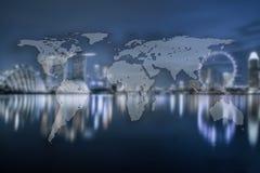 Światowy Globalny kartografia globalizacja, Singapur tło (El obraz stock