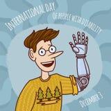 Światowy inwalidzki dnia mężczyzny prosthesis ręki pojęcia tło, ręka rysujący styl ilustracja wektor
