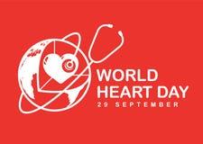Światowy kierowy dnia sztandar z białym sercem w 3D światu znaku i stetoskop na czerwonego tła wektorowym projekcie Fotografia Stock