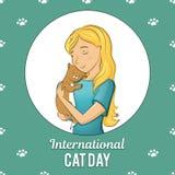 Światowy kota dzień Międzynarodowy wakacje również zwrócić corel ilustracji wektora royalty ilustracja