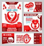 Światowy Krwionośnego dawcy dnia sztandar z sercem i kroplą ilustracji