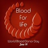 Światowy Krwionośnego dawcy dzień, Czerwa 14 plakata szablon z tekst krwią dla życia i krwionośne krople w okręgu, kształtujemy ilustracji