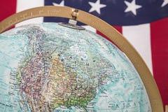 Światowy kuli ziemskiej Północna Ameryka usa flaga tło Zdjęcia Stock