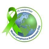 Światowy Lymphoma świadomości dzień zielony wstążki Wektorowa ilustracja na odosobnionym tle 15 Wrzesień royalty ilustracja