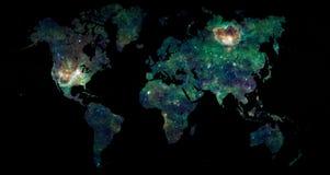 Światowy mapy eksploraci przestrzeni kosmicznej pojęcie Zdjęcia Stock