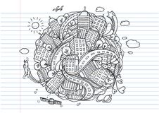 Światowy miasto doodles elementy, ręki rysować ikony ustawiać Zdjęcie Royalty Free