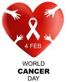 Światowy nowotworu dzień, 3d serce z ręką i faborku wektoru ilustracja, ilustracji