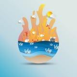 Światowy oceanu dnia pojęcia projekt z papierowym sztuka stylem Fotografia Stock