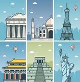 Światowy punktu zwrotnego projekt z miasto liniami horyzontu Ateny, Agra, Paryż, Pekin, Chichen Itza i Nowy Jork miast linie hory Zdjęcia Stock