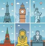 Światowy punktu zwrotnego projekt z miasto liniami horyzontu Paryż, Londyn, Nowy Jork, Moskwa, Giza i Kamakura miast linii horyzo Fotografia Stock
