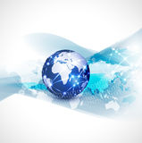 Światowy sieci technologii i komunikaci pojęcia ruch płynie tło, wektor & ilustrację, Zdjęcia Stock