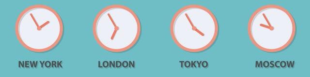 Światowy strefa czasowa zegar ilustracja wektor